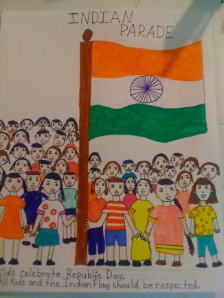 Kids celebrating Republic Day, Respect kids, respect Indian flag-Anoushka