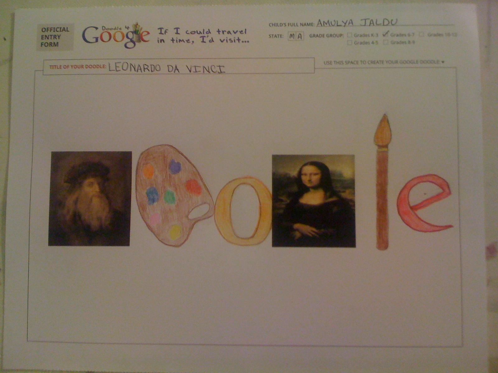 I'd Visit 'Leonardo Da Vinchi' -Amulya Jaldu(6th Grade)